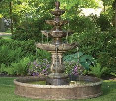 Proudly constructed in the USA from premium cast stone concrete. The Classic Four Tier Garden Fountain on Pool is a great water feature to add for those residences and commercial areas with large patios and yards. Garden Water Fountains, Concrete Fountains, Outdoor Water Features, Tiered Garden, Brick Patterns, Garden Stones, Winter Garden, Beautiful Gardens, Garden Design