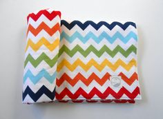 Minky Rainbow Chevron Blanket Quilt Riley Blake Primary Colors--Made to Order This Size ONLY on Etsy, $42.00