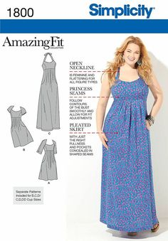 Our Amazing Fit empire waist pleated dress pattern is available in Misses' and Plus Sizes. Dress has front pleats and pockets, and can be made in two lengths.