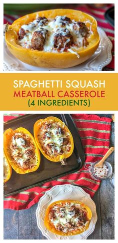 This spaghetti squash meatball casserole is an easy weeknight dinner you can make quickly with only 4 ingredients. And it's a great gluten free alternative to pasta! #casserole #meatball #spaghettisquash