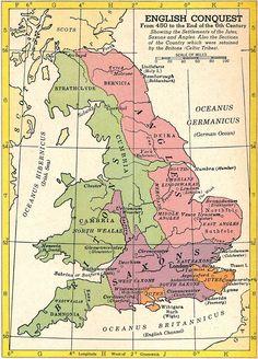English Conquest AD - 1954 map Copyright C. Hammond & Co. History Of England, Uk History, European History, British History, Family History, Map Of Britain, Roman Britain, Historical Maps, Historical Pictures