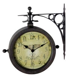features clock and thermometer black hands wrought iron bracket
