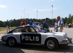 A police car from the 1970's Porsche 911.