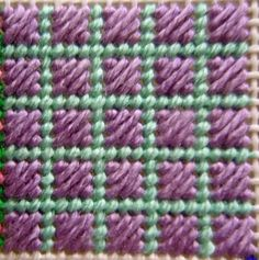 Scotch Stitch Block 7 for the needlepoint Painted Stitches Sampler is the Scotch Stitch. I painted this stitch as a framed Scotch Stitch so it could be done in two steps. The Scotch Stitch is very versatile and can be stitch over. Plastic Canvas Stitches, Plastic Canvas Coasters, Plastic Canvas Tissue Boxes, Plastic Canvas Crafts, Plastic Canvas Patterns, Bargello Needlepoint, Needlepoint Stitches, Needlepoint Canvases, Needlework