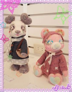Needle Felted Bear & Panda in Cute Oufits