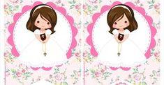 Mamá Decoradora te trae este hermoso kit imprimible de Primera Comunión Niña gratis, con todo lo necesario para que tu misma puedas armar u... First Communion Cards, First Communion Decorations, First Communion Invitations, First Communion Dresses, First Holy Communion, Cupcake Toppers Free, Baby Clip Art, Christening, Diy And Crafts