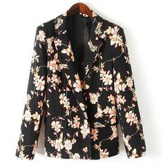 Trendy Style Lapel Neck Long Sleeve Floral Print Women's Blazer
