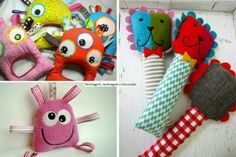 keiki baby: Great Ideas to make for Infants Diy Sewing Projects, Projects To Try, Baby Crafts, Crafts For Kids, Fabric Toys, Shabby Flowers, Kids Pillows, Sensory Toys, Baby Headbands