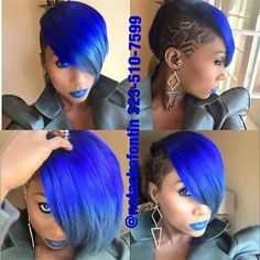 Electric blue with a bit of grey. Shaved Side Hairstyles, Quick Weave Hairstyles, Cool Hairstyles, Black Hairstyles, Short Hair Cuts, Short Hair Styles, Short Curls, Extreme Hair Colors, Shaved Hair Designs