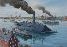 American Civil War Ships - The ironclad C. Virginia steams from Gosport Navy Yard with tenders C. Teaser and C. Jamestown to engage Union Fleet at Hampton Roads, Virginia, March Uss Monitor, Military Art, Military History, American Civil War, American History, Civil War Art, Confederate States Of America, Naval History, Historical Art