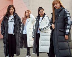 180920 BlackPink x Adidas Blackpink Fashion, Korean Fashion, Winter Fashion, Fashion Outfits, Long Puffy Coat, K Pop, Korean Winter, Raincoat Outfit, Blackpink Photos