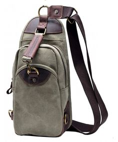 5cbfe68df5b Canvas Sling Bag - Chest Pack Shoulder Backpack - Army Green - CJ11BUOACQN