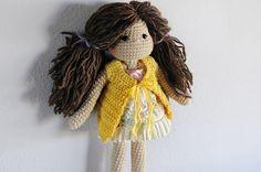 Crochet Doll Long brown wool hair Ready to ship. by LinaMarieDolls