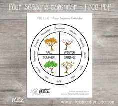 FREE Printable – Four Seasons Wheel Calendar. ~ Print, cut, laminate, and add a clothespin. ~ Visit Life is Mostly Noise for more home school / preschool / educational ideas! Seasons Kindergarten, Kindergarten Calendar, Kindergarten Worksheets, Seasons Worksheets, Seasons Activities, Free Preschool, Preschool Activities, Easy Peasy Homeschool, Montessori