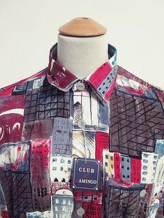 Vintage 90s Crazy Pattern City Life NYC Fresh Prince Hip Hop Party Shirt XL