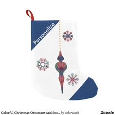Colorful Christmas Ornament and Snowflakes Christmas Stocking - Decorate with Christmas stockings featuring colorful, delicate snowflakes and a beautifully shaped matching ornament hanging on a beaded chain, all of it on a snowy field of white against a rich blue. Easily personalize with a name, season's greeting, or anything else your Christmas heart desires. #Christmas #stocking