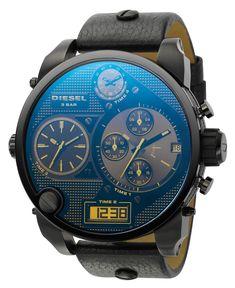 Diesel Watch, Analog Digital Chronograph Black Leather Strap 65x57mm DZ7127 - Men's Watches - Jewelry & Watches - Macy's