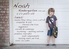 1st day of Kindergarten...in front of front door or garage door