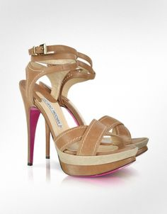 Luciano Padovan Leather and Canvas Platform Sandal