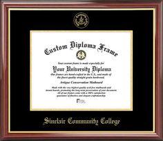 Sinclair Community College Diploma Frame - Embossed Seal - Mahogany Gold Trim
