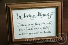 Wedding table signs in loving memory sign table card wedding reception seating signage family photo table Wedding Reception Seating, Card Table Wedding, Wedding Cards, Reception Ideas, Wedding Memory Table, Reception Signs, Wedding Receptions, Bathroom Basket Wedding, Wedding Card Messages