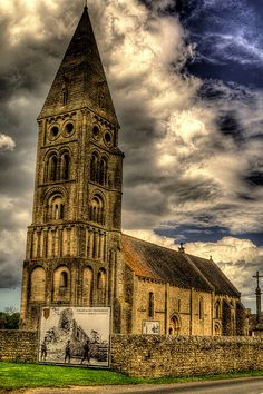 Church at Colleville-sur-Mer, Omaha Beach, Normandy, France. Normandy is the place where several American/Allied soldiers died while liberating France from Hitler's SS regime during World War II.