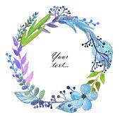 Frame with cute watercolor branches, leaves and flowers on white background