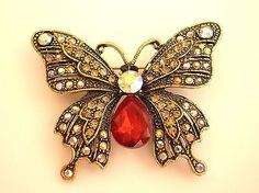 GORGEOUS-VINTAGE-INSPIRED-ANTIQUE-GOLD-STATEMENT-RED-BUTTERFLY-BROOCH