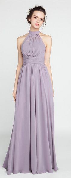 Long Chiffon Mauve Bridesmaid Dress with Halter Neckline