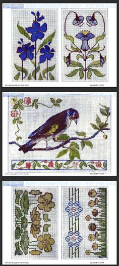 Art deco cross stitch charts of stylized floral borders and corners, alphabets and a wonderful steamship.