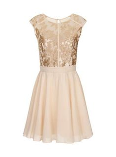**Little Mistress Cream Floral Lace Prom Dress