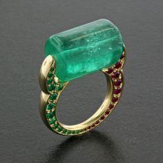 Emerald Bead, Ruby, Emerald and 18K Yellow Gold Ring by James de Givenchy
