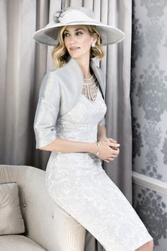 John charles 2016 26054 wedding outfit perfect for modern mother of the bride dress and jacket in luxury jacquard with coordinated hat Outfits 2016, Dress Outfits, Mob Dresses, Bride Dresses, John Charles, Bride Groom Dress, Glamorous Dresses, Wedding Party Dresses, Vintage Style Outfits
