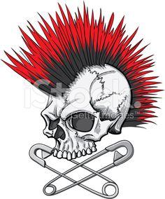 illustration of a punk rock skull with mohawk and crossed safety pins Punk Art, Arte Punk, Skull Artwork, Skull Painting, Skull Drawings, Punk Tattoo, Skull Tattoos, Yakuza Tattoo, Art Tattoos