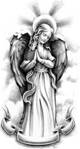 angel tattoo....Iove this with a little color and a bigger scrool on the bottom with the word BELIEVE in it.
