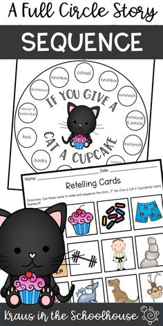 If You Give a Cat a Cupcake by Laura Numeroff is a great book to help students practice sequencing. This full circle story provides students with opportunities to retell a story in the correct order. #sequencing