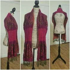 Long Fringe Scarf Beautiful colors and different textures.  A few small pulls as in second pictures, it is small, right top coner picture.    ...Reasonable Offers Accepted... ...Ask About Custom Bundles... Accessories Scarves & Wraps