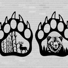 Silhouette Cameo, Animal Silhouette, Media Mix, Bear Paw Print, Bear Claws, Wood Burning Patterns, Bear Design, Dog Paws, Vinyl