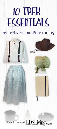 14 Trek Essentials: Get the Most from Your Pioneer Journey Pioneer Camp, Pioneer Trek, Pioneer Life, Mountain Man Clothing, Pioneer Costume, Trek Ideas, Pioneer Crafts, Pioneer Clothing, Boy Costumes