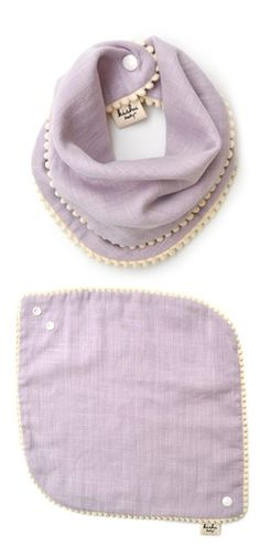 AmazonSmile: kishu baby Girl Bibs 2-pk Sage and Lavender Pom Pom Bib Gift Set for Girls, Multicolor, One Size: Baby
