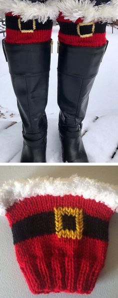 Free Knitting Pattern for Kringle Cuffs - Holiday boot toppers inspired by Santa Claus and trimmed with faux fur yarn or chenille yarn. Designed by Brooke Ada. Pictured project by Knitted Boot Cuffs, Crochet Boots, Knit Boots, Knit Crochet, Boho Boots, Knitted Slippers, Crochet Granny, Knitting Patterns Free, Free Knitting