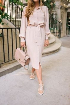 Silk Dress & Sneakers - Gal Meets Glam - Gal Meets Glam Work Dress & Sneakers – Joseph dress, Lanvin sneakers & Cuyana bag The Effective P - Chic Winter Outfits, Classy Outfits, Classy Dress, Lanvin, Modest Fashion, Fashion Dresses, Silk Dress, Dress Up, Belted Dress