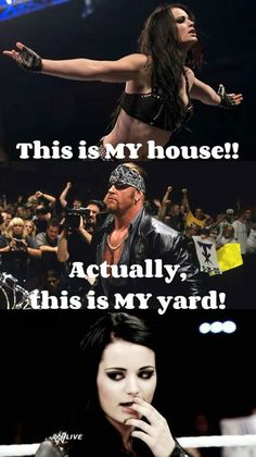 """Paige & The Undertaker """"This is MY House/Yard! Wrestling Memes, Wrestling Divas, Wwe Quotes, Wwe Raw And Smackdown, Wwe Funny, Undertaker Wwe, Wwe Pictures, Paige Wwe, Wwe Roman Reigns"""