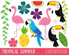 This tropical birds clip art set features 26 images color and 12 black & white) including a parrot, toucan, flamingo, pineapple and various flowers.***************************************************************************You Will Receive Tropical Party, Tropical Birds, Fish Clipart, Hawaiian Party Decorations, Watercolor Fish, Guache, Digital Stamps, Art Images, Embroidery Patterns