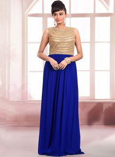 Add the sense of feminine attractiveness by this spectacular blue faux georgette…