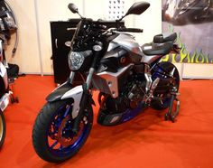 MT07 at Biarritz Motor Show France with twin colors parts and black screen