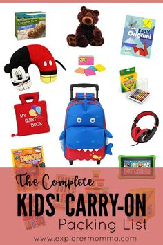 What do you pack in your kids' carry-on bags? Here's a carry-on packing list of invaluable items for fewer meltdowns and happy kids from our recent travels. Carry On Packing, Carry On Bag, Travel Packing, Travel Tips, Packing Tips, Travelling Tips, Travel Europe, Travel Hacks, Travel Ideas