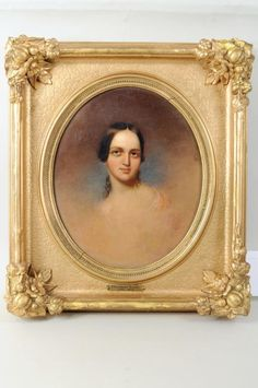 "Gilt frame with oval opening. Thomas Sully, (Pennsylvania/England, 1783-1872) ""Portrait of a Young Woman"" oil on canvas, unsigned. Sight size: 11 1/2"" high, 9 1/2"" wide. Frame size: 17"" high, 15"" wide."
