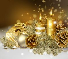 Christmas candles wallpaper by - 32 - Free on ZEDGE™ Christmas Candles, Gold Christmas, Christmas Pictures, Christmas Holidays, Christmas Decorations, Christmas Ornaments, Beautiful Christmas, Happy Holidays, Christmas Gifts