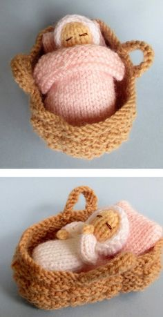 Free knitting instructions for Baby in Basket Crib - this tiny doll toy . Free Knitting Instructions for Baby in Basket Crib - This tiny doll toy from Flutterby . Baby Knitting Patterns, Knitted Doll Patterns, Knitted Dolls, Loom Knitting, Crochet Dolls, Free Knitting, Bear Patterns, Animal Patterns, Knitting Toys
